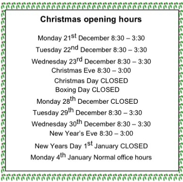 Or Christmas opening hours